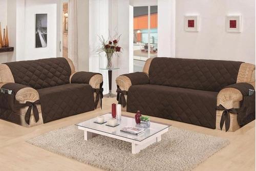 capa avulsa  protetor sofá  2 lugares  com laço
