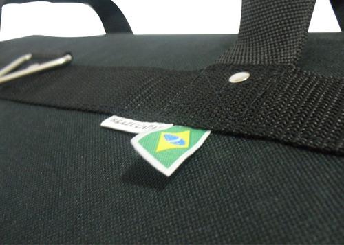 capa bag p/bumbo de bateria 22 x 18 c/ acessórios metálicos