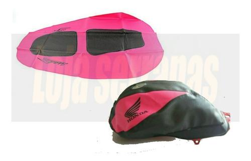 capa banco  tanque fan125 fan150 160 cor rosa todas as cores