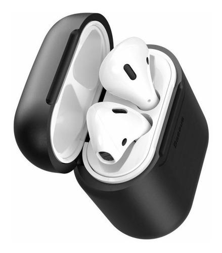 capa baseus airpods receptor sem fio wireless qi cor black