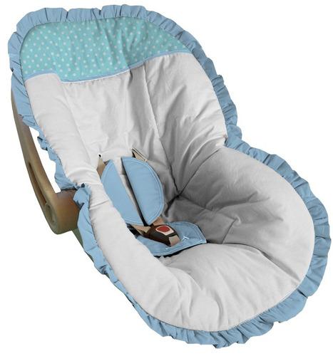 capa bebê conforto até 13kg branca detalhe poá aguá