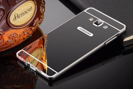 capa bumper alumínio espelhada+tampa traseira galaxy a7 a700