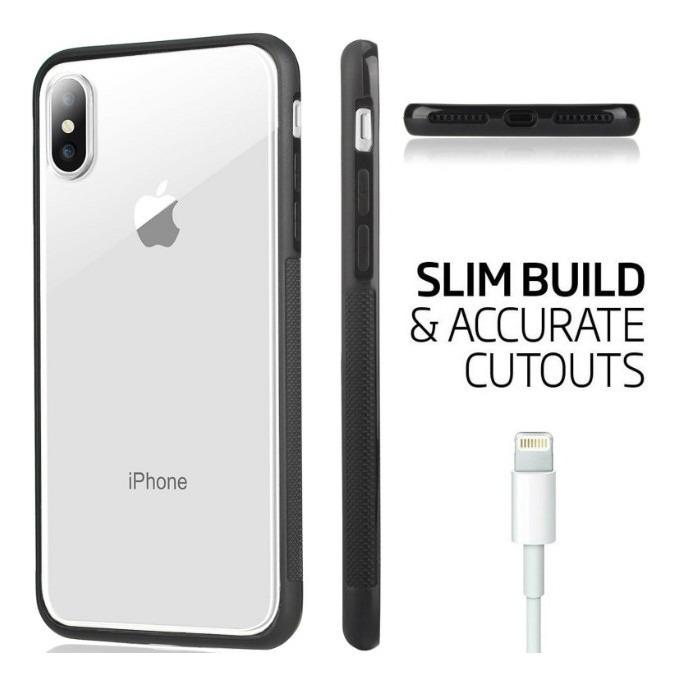 e9cf07e529a Capa Bumper iPhone X - Xs / Xr Transparente Preta - R$ 24,89 em ...