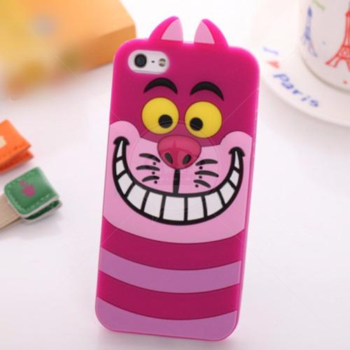 capa capinha case iphone 6 6s gato alice cheshire 3d alto