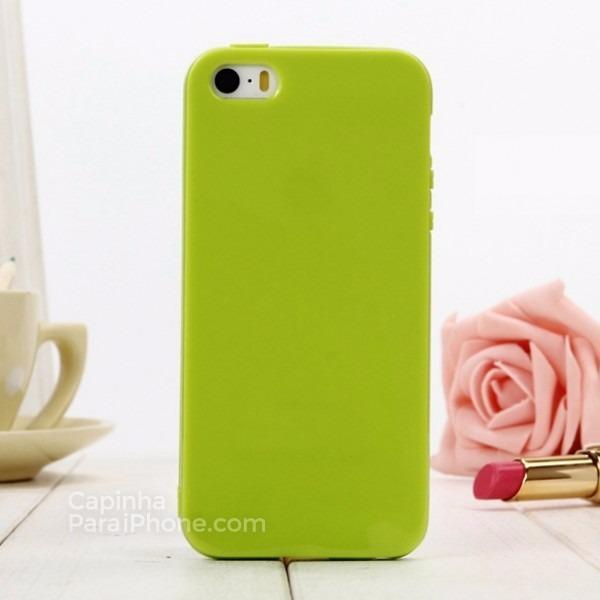 0b0855286 Capa Capinha Para Iphone 5s   Se Silicone Candy Verde Limão - R  34 ...