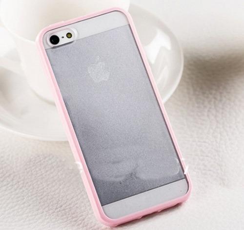 beb1a770e2b Capa Capinha Tpu Bumper Rosa Com Proteção iPhone 5 iPhone 5s - R$ 17 ...