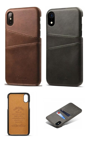 capa carteira case iphone x / xs ,xr , xs max iphone 11 couro sintético premium vintage slim cartões