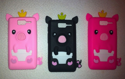 capa case 3d porco rei    d1 xt918 pig