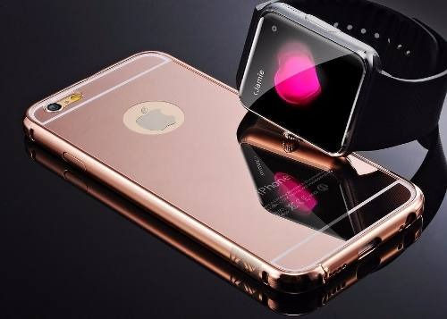 6357ee724 Capa Case Bumper Alumínio Espelhada Iphone 7 Plus Rosa - R  23