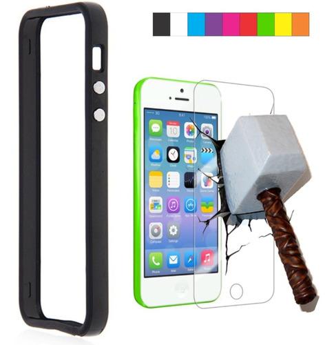 capa case capinha bumper colors iphone 5c + pelicula vidro