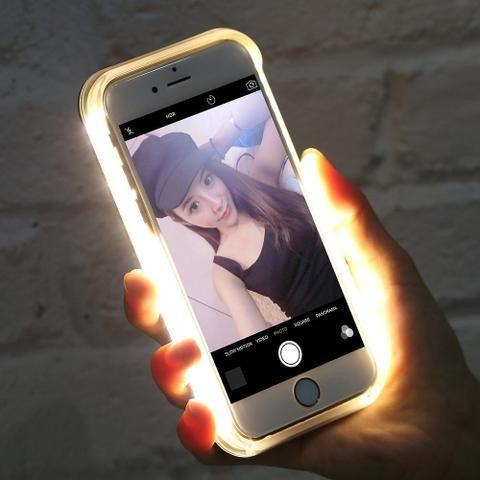 capa case capinha lumee led luz selfie iphone 6/6s - rosa