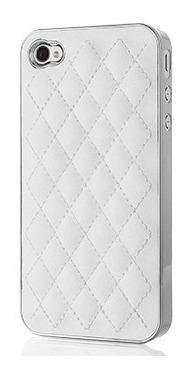 capa case capinha para iphone 4 e 4s branca em couro e prata