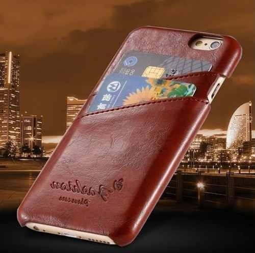 capa case carteira couro iphone 6 4,7 + película de vidro