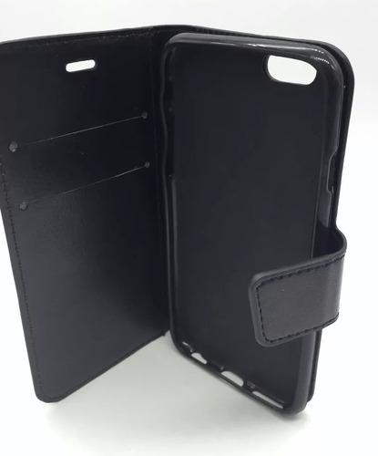 capa case carteira couro iphone 7 5.5 + película de vidro