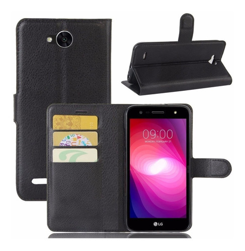 capa case carteira flip lg k10 power preto