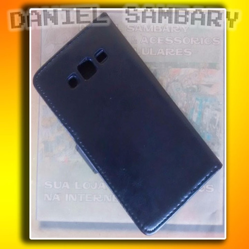 capa case carteira flip p/ galaxy j5 j500 + pelicula vidro
