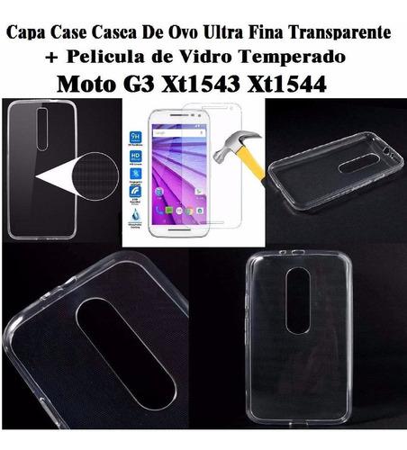 capa case casca ovo slim moto g3 3 geração + película vidro