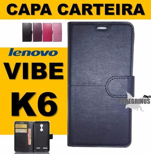 capa case flip carteira couro lenovo vibe k6 - pronta entreg