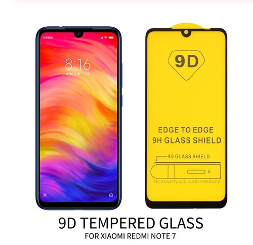 capa case+película d vidro full glue 9d  xiaomi redmi note 7