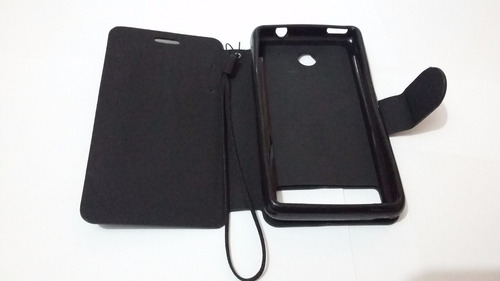 capa case sony xperia e1 dual carteira + película vidro
