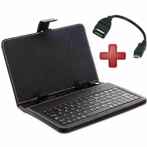 capa case teclado em português p/ tablet 7´´ + adaptadores
