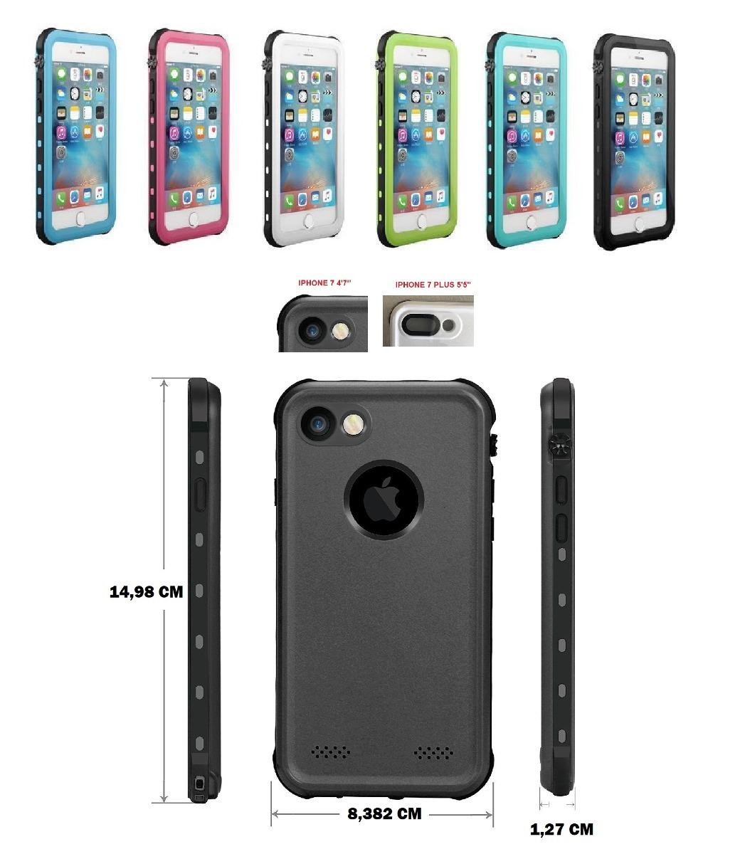 half off af1ab f2cc2 Capa Case Waterproof iPhone 7 8 8 Plus Prova Dágua Touch Id