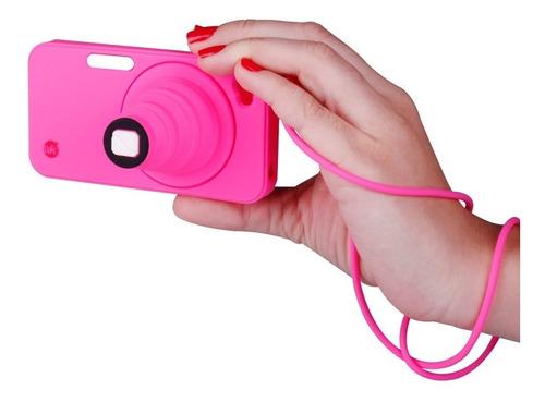 capa celular iphone 4/4s camera com apoio pink