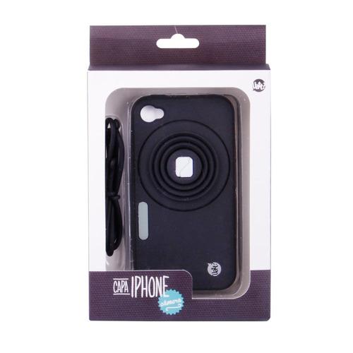capa celular iphone 4/4s camera com apoio - preto
