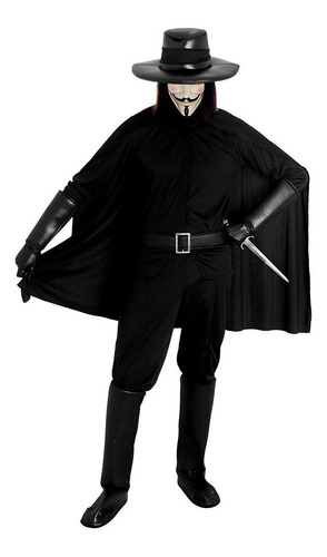 capa chapeu espada e mascara v de vingança festa fantasia