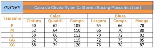 capa chuva califórnia racing nylon motoqueiro conjunto p