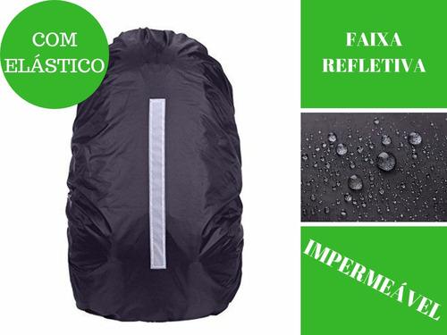 capa chuva mochila impermeável motoboy viagem refletiva g