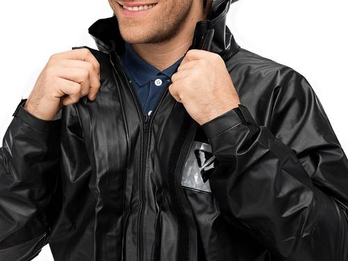 capa chuva motoqueiro masculino em pvc com gola preto moto