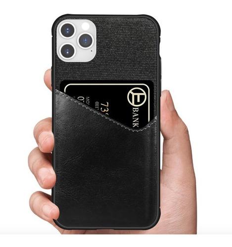 capa com porta cartão para apple iphone 11 pro max - preta