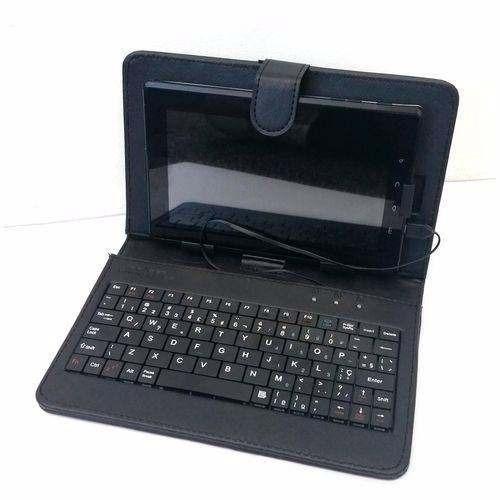 capa com teclado para tablet 7 conexão micro usb v8 promoção