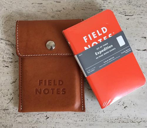 capa couro natural e caixa arquivo field notes