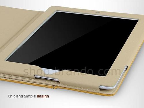 capa couro portfolio fino acabamento new ipad 2 3 4 branca