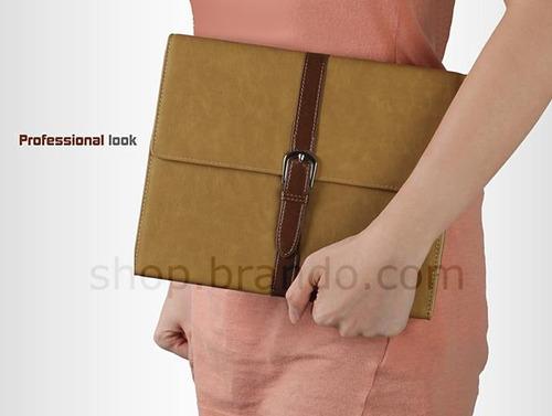capa couro portfolio fino acabamento new ipad 2 3 4 rosa