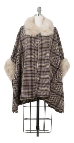 capa cuadrada café, con fur elegante abrigo, maxi.