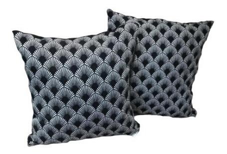 capa de almofada 43x43 concha preto e branco - 1 unidade