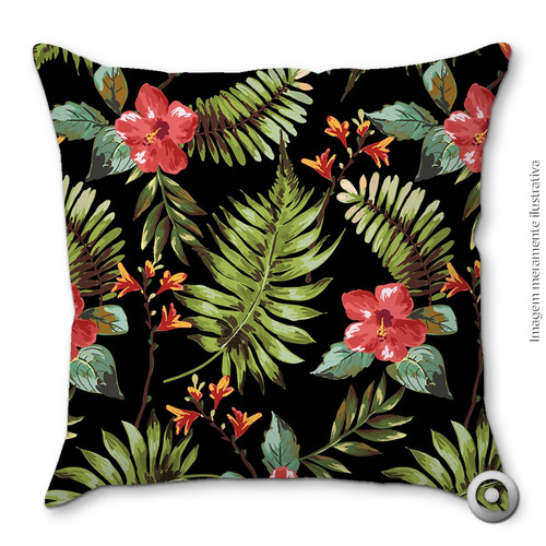capa de almofada haus for fun hawaiian floral black 40x40