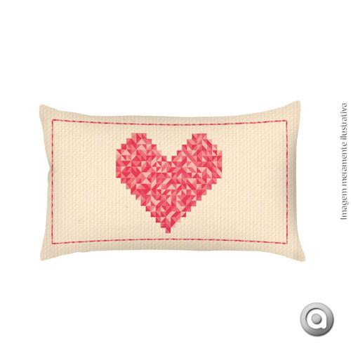 capa de almofada haus for fun mosaico coração 20x38