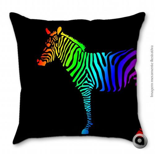 capa de almofada haus for fun zebra colorida 40x40