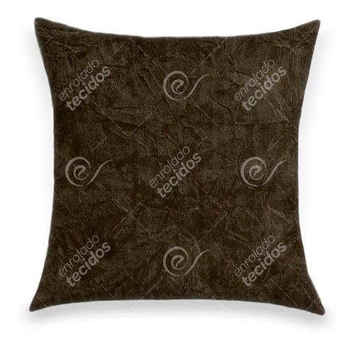capa de almofada suede amassado marrom 45 x 45cm com zíper