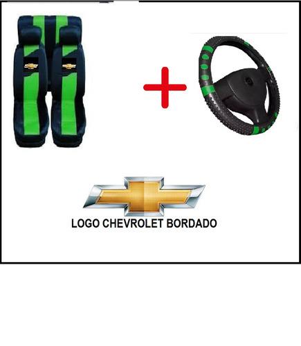 capa de banco verde + capa volante p/ chevrolet meriva 2011