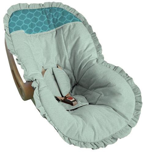 capa de bebê conforto até 13kg toda branca detalhe verde