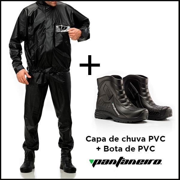 cb66d6eb7a0 Capa De Chuva Motoqueiro Pvc + Bota Impermeável Pantaneiro - R  112 ...