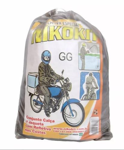 capa de chuva p/ motoqueiro transp g g nikokit- nova c/ nfe