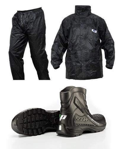 capa de chuva pro tork nylon impermeavel + bota pantaneiro