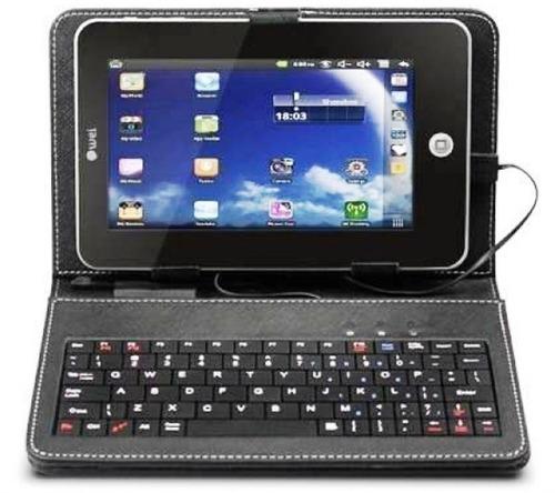 capa de couro c/ teclado universal usb p/ tablet 8 polegadas