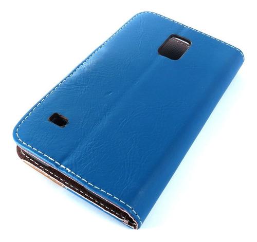 capa de couro cell samsung galaxy s5 azul e marrom